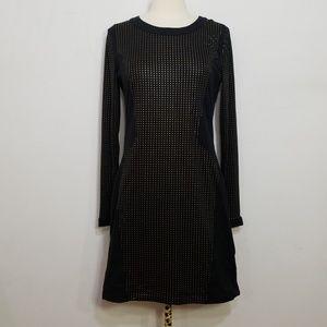 UO Silence + Noise Black Long Gold Dot Dress Large